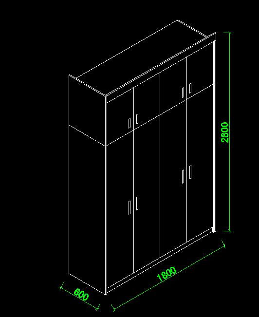 Autocad方案考核CAD绘制实例轴测图?广告设计课程制作衣柜图片